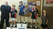 Podium du tournoi poussins : Maximilien et Hugo