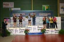 Podium du double minimes au championnat de France de tennis de table 2014