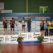 Podium du double minimes au championnat de France de tennis de table 2014