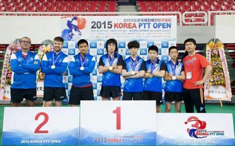 Podium par équipe au Master de Corée (Antoine 3ème en partant de la gauche)